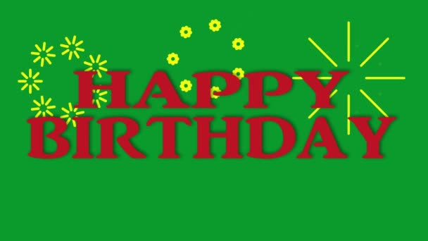 Happy Birthday Animation Congratulations Background on Green Screen