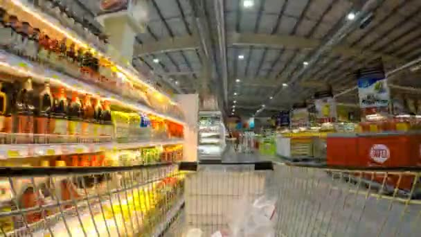 Supermarket Time Lapse. Shopping Cart in Action