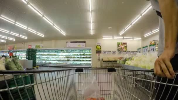 Shopping Cart in Supermarket. Time Lapse