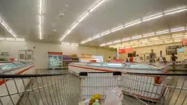 THAILAND, KOH SAMUI, 05.25.2015 - In Supermarket. Man with Shopping Cart. Time Lapse