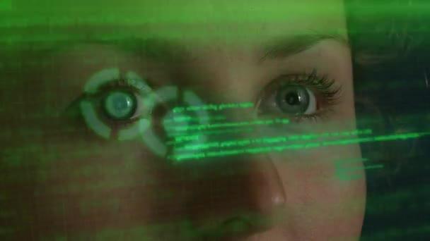 Cyber oči kódování na futuristické Hud Hologram