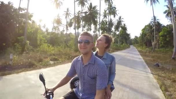 Happy Young Love Couple on Scooter Enjoying Summer