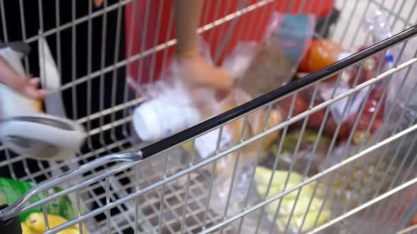 Nákupní košík s produkty v supermarketu pokladna