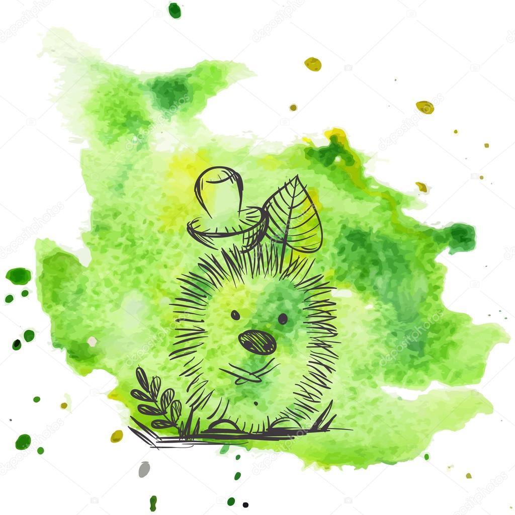 Cartoon Hedgehog With Mushroom