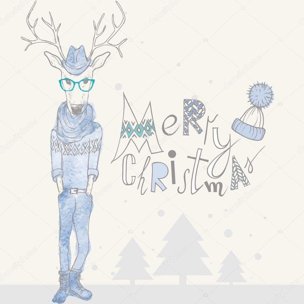 Christmas Background And Greeting Card With Hipster Deer Eps 10 Vector Illustration By Thanks4purchase