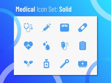 Medical icon set with solid style. Suitable for any purpose. icon