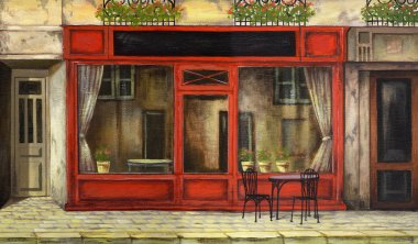 facade Paris oil painting. drawing by hand on the computer for painting. welcoming facade, picture of the facade