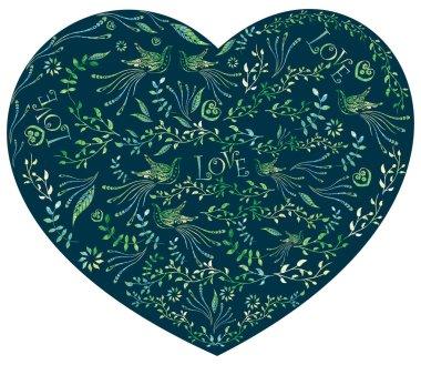 "Картина, постер, плакат, фотообои ""фон картины сердца, внутри птиц, цветы. узор маленьких цветков. краска "", артикул 88083738"