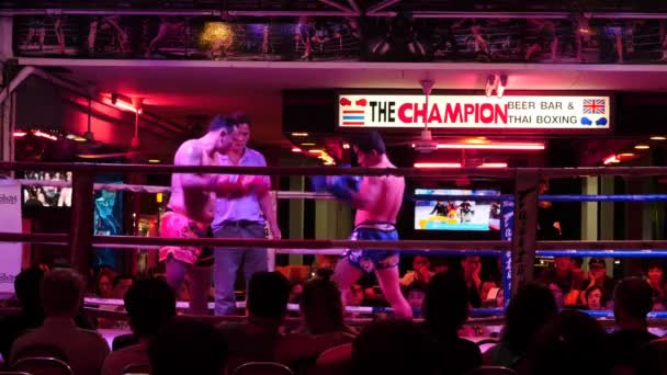 February 23 2016 Thailand, Pattaya. Fight and Winner of Thai box competition.2 videos sequence