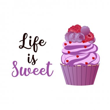 Sweet muffin. Modern brush calligraphy. Hand drawing lettering Life is sweet. Perfect for greeting cards, party invitations, posters, stickers. icon