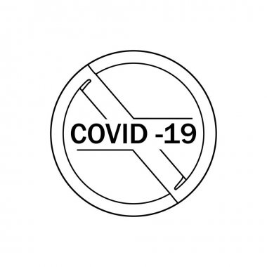 Continuous one line drawing stop coronavirus. Perfect for cards, posters, stickers. Medical concept icon
