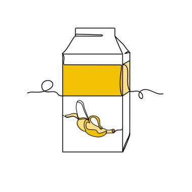 Continuous one line of banana juice box packing in silhouette. Minimal style. Perfect for cards, party invitations, posters, stickers, clothing. Black abstract icon. Drink concept. icon