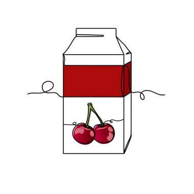 Continuous one line of cherry juice box packing in silhouette. Minimal style. Perfect for cards, party invitations, posters, stickers, clothing. Black abstract icon. Drink concept. icon