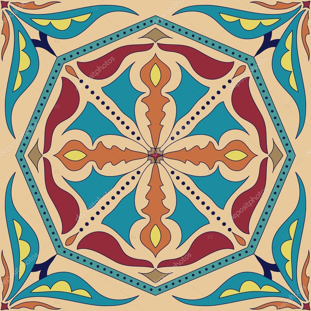 Voorbeelden Van Kleurplaten Voor Volwassenen.Vector Vierkante Mandala Patroon Als Voorbeeld Voor Het Boek