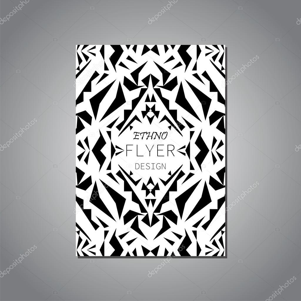 Vektor Geometrische Schwarz Weiß Broschüre Vorlage Für Geschäfts  Und  Einladung. Ethnische, Stammes , Azteken Stil. Modernen Ethno Ikat Muster U2014  Vektor Von ...