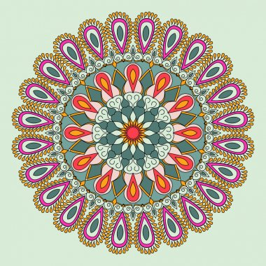 Vector floral colorful mandala. Beautiful design element in ethnic style. Indian, arabic, oriental motives