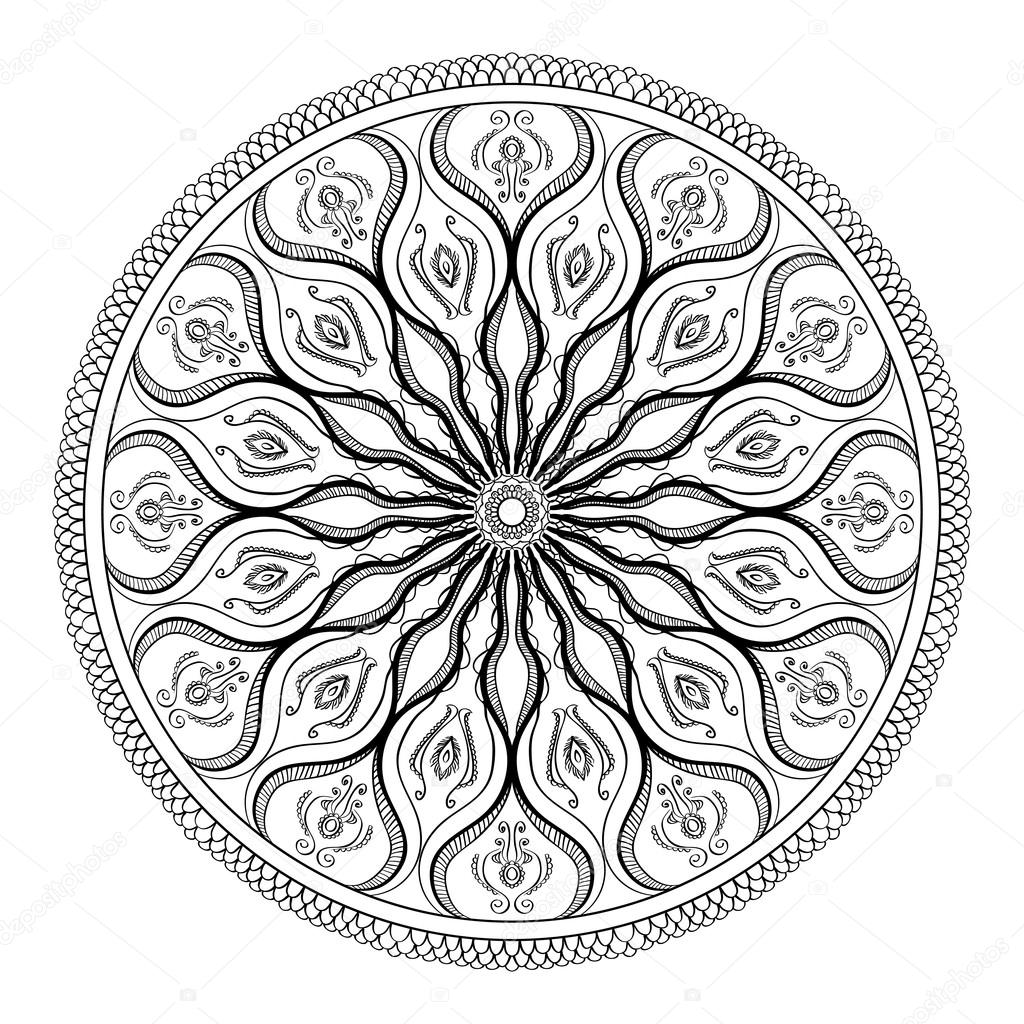 Vector Coloring Book For Adult Page Relax And Meditation Black White Mandala