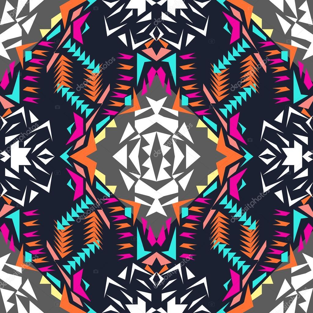 Vector Seamless Texture Tribal Geometric Pattern Electro Boho
