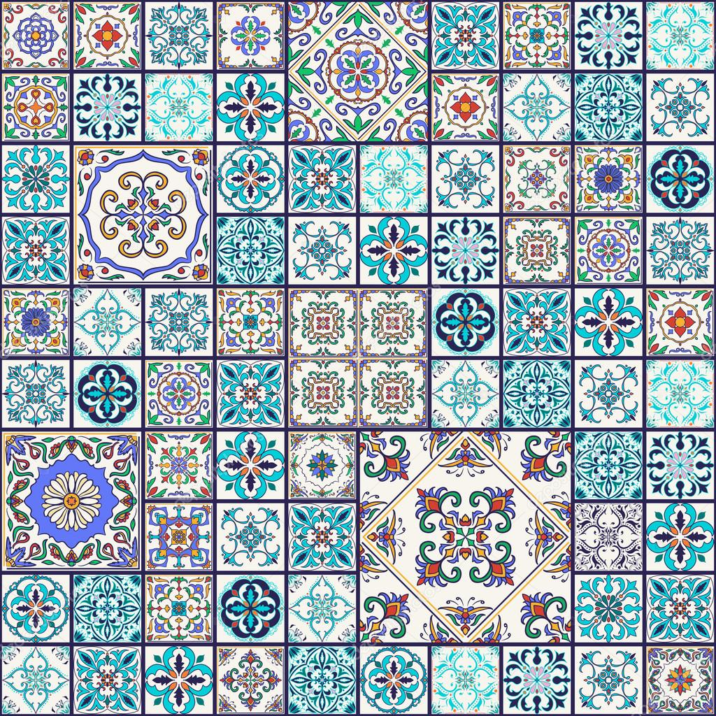 Vector seamless texture. Beautiful mega patchwork pattern for design and fashion with decorative elements. Portuguese tiles, Azulejo, Talavera, Moroccan ornaments in blue and orange colors stock vector