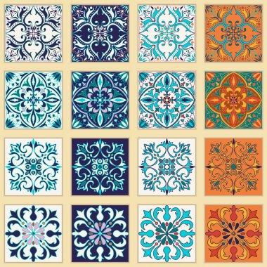 Vector set of Portuguese tiles. Beautiful colored patterns for design and fashion.  Azulejo, Talavera, Moroccan ornaments in four different color combination clip art vector