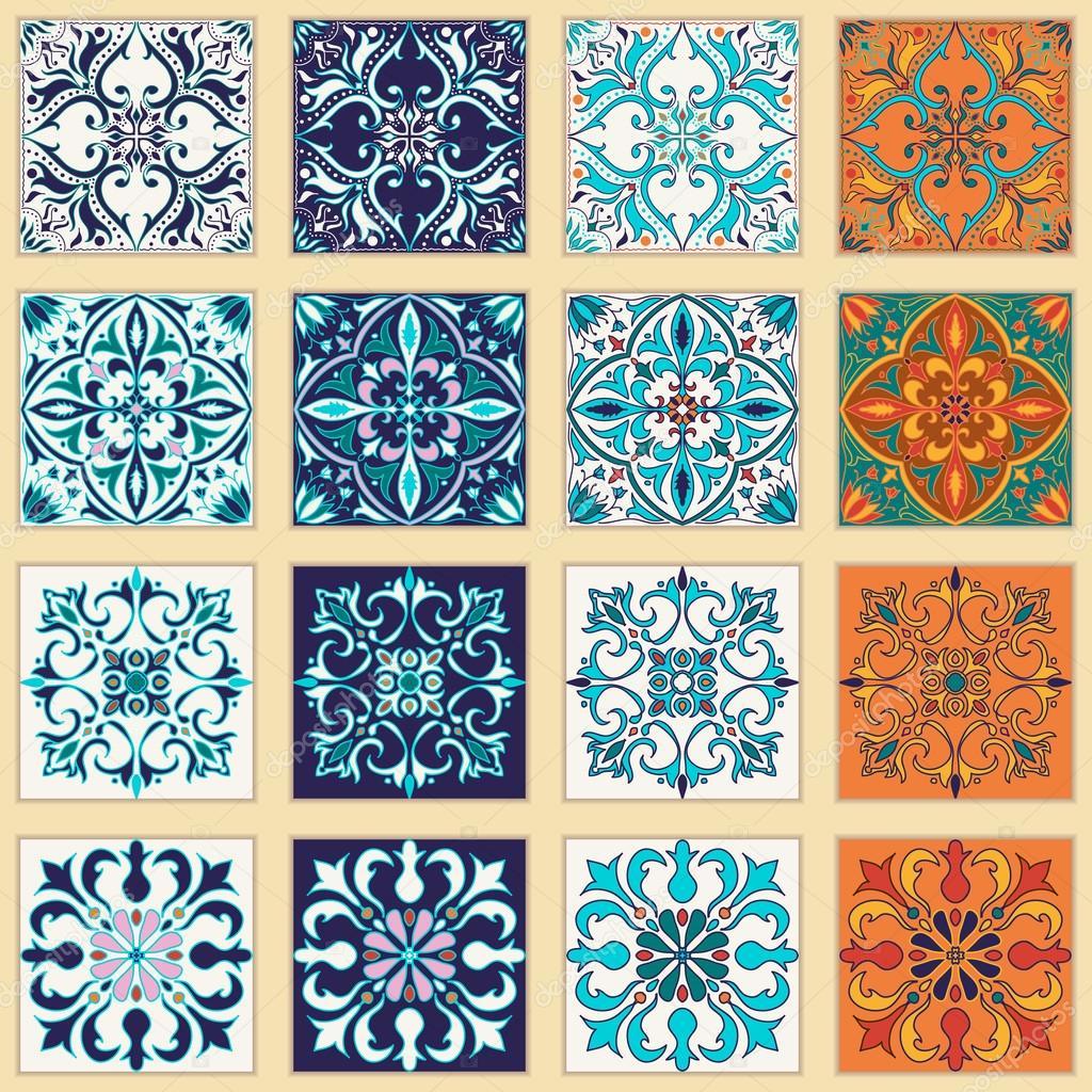 Vector conjunto de azulejos portugueses hermosos dise os - Azulejos de colores ...
