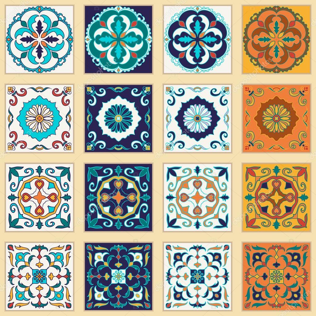 vector conjunto de azulejos portugueses hermosos diseos de colores de diseo y moda u vector