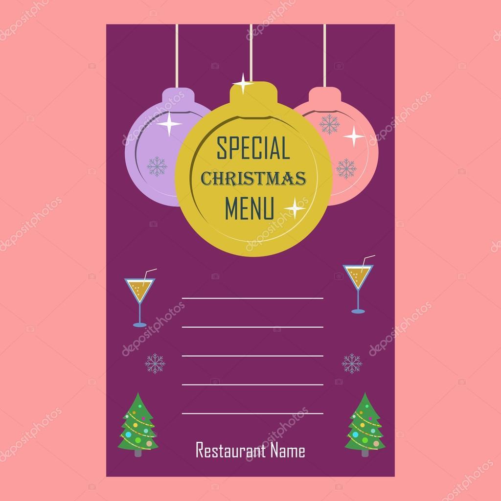 Plantilla de diseño plano de menú especial Navidad restaurante ...