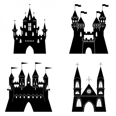 Collection of fairytale castle silhouettes