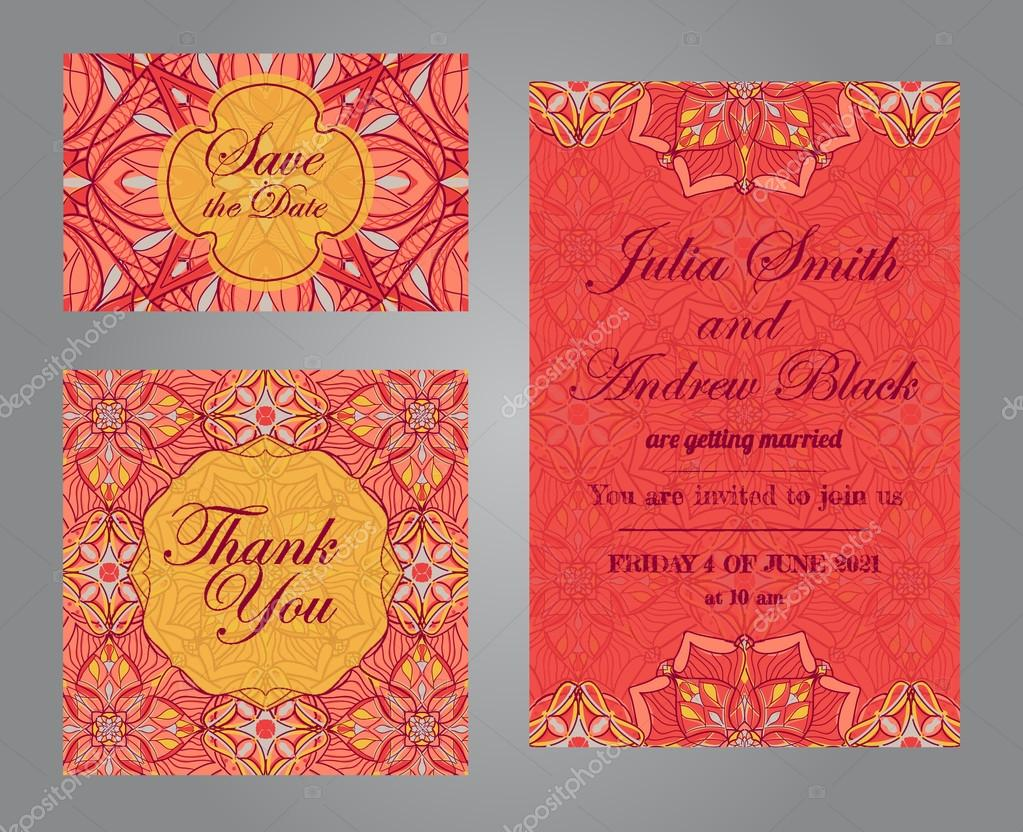 Wedding set in vintage ornamental style. Invitation; save the date ...