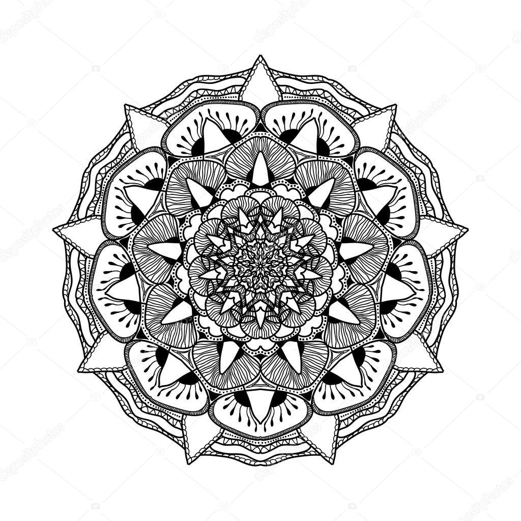 Vector beautiful mandala black and white pattern for for Art et decoration pdf