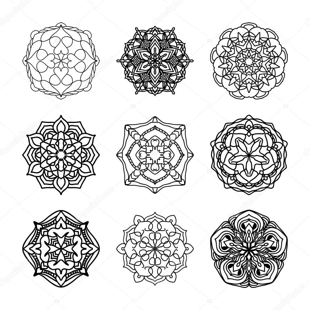 Vector conjunto de étnicos blanco y negro patrones decorativos para ...