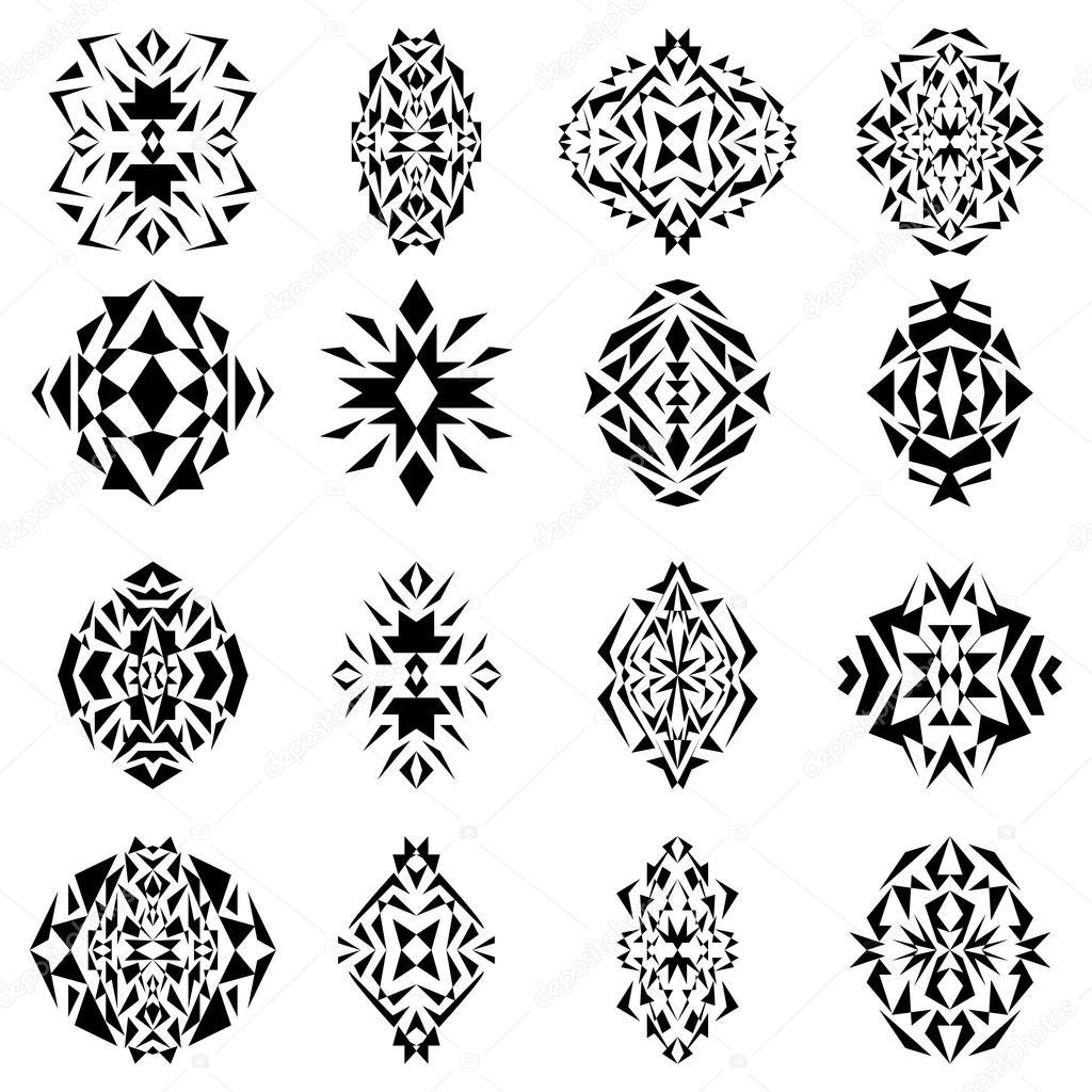 Vectores: tribales geometricos | Vector conjunto de tribales blanco ...