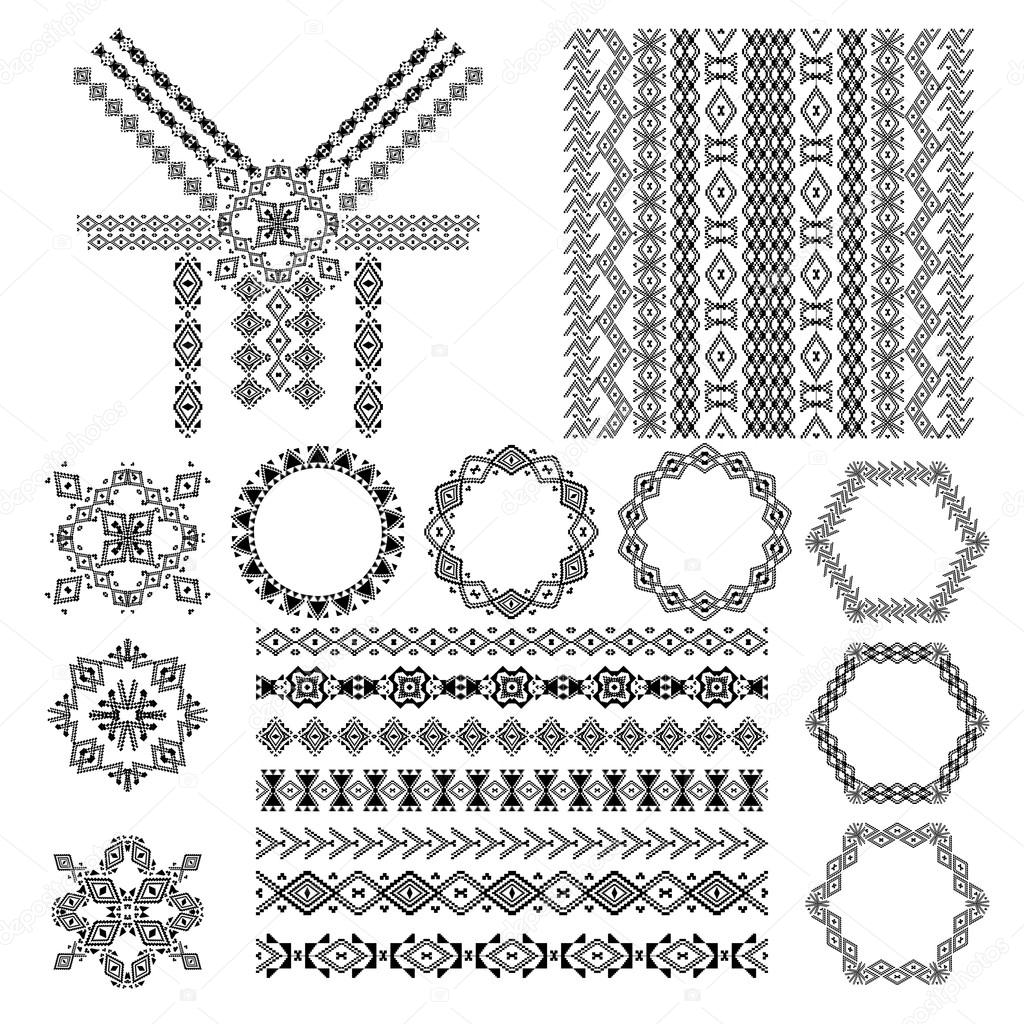 Vector Set Of Decorative Elements For Design And Fashion In Ethnic