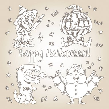 Halloween cartoon character set. Hand-drawn vector illustration with Pumpkin, Witch, Dragon, a Vampire and small patterns. Mystery, All Saints Day concept for halloween party, posters, greeting cards icon