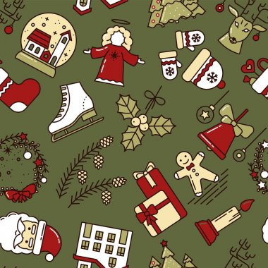 Christmas Seamless Pattern with Christmas Toys, Bell, Snow Globe, Mistletoe, Santa Claus, Wreath, Snow House, Deer, Hat and Mittens. For Invitations, Design, Greeting card and Newsletters. Vector icon