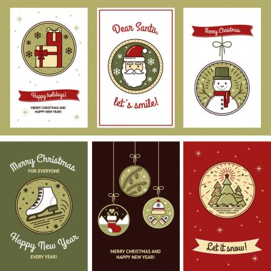 Cute Christmas Card Set with Gifts, Santa, Snowman, Skates, Christmas Tree, Pine Cone, Sock, Hat and Mittens. Tags for Gifts, Template for Mailing, Design. Modern collection. Vector illustrations icon