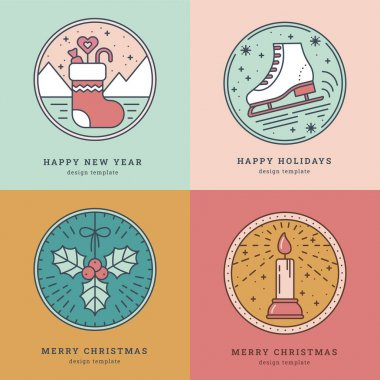 Set of Greeting Cards with Icon, Symbol of New Year and Christmas. Sock with Gifts, Skates, Mistletoe, Candle with light. Pastel colors. Template for Tags, Greeting Card, Sticker. Vector illustration icon