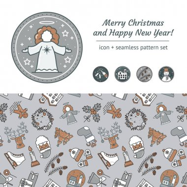Christmas Scrapbooking Set. Seamless Pattern and Vector Icons with Angel, Champagne Bottle and Glasses, Snow House, Snowman, Pine Cones. For Invitations, Design, Greeting card and Newsletters. Vector icon