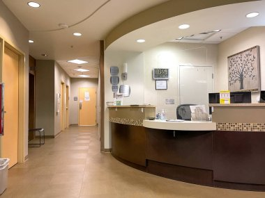 Atlanta, GA USA - March 26, 2021:  A Piedmont Hospital reception dish for outpatient surgery in Atlanta, GA.