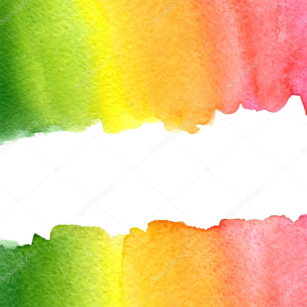 Acquerello Arcobaleno Verde Giallo Arancio E Rosa Sfondo Con Lo