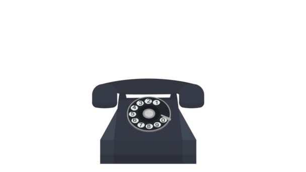 Telefonapparat. Animation eines Telefonanrufs, der Alphakanal ist aktiviert. Karikatur