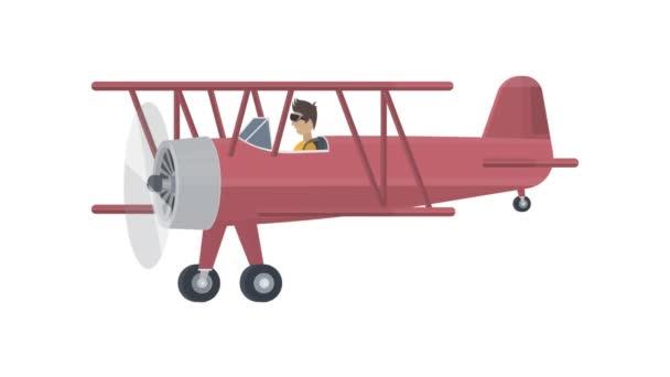 Dvouplošník. Letadlo s pilotem, animovaný animovaný film