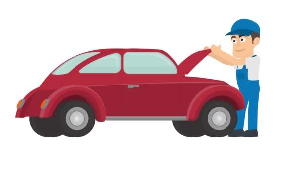 Oprava auta. Automechanik pro opravy aut, animovaný kreslený film