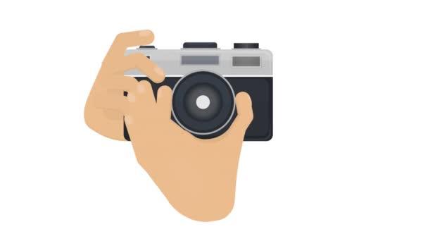 Kamera v ruce. Fotografujte animovaný animovaný film. Fotoaparát
