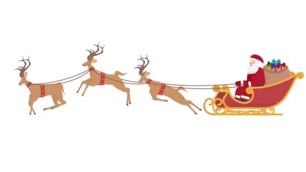 Karácsonyi szán rénszarvasokkal. Mikulás ajándékokkal, animált rajzfilm
