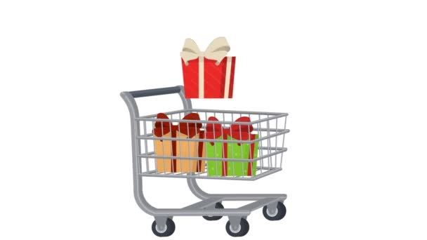 Shopping cart with food, animated cartoon