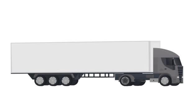 LKW mit Anhänger. Ein LKW mit Container, ein animierter Cartoon