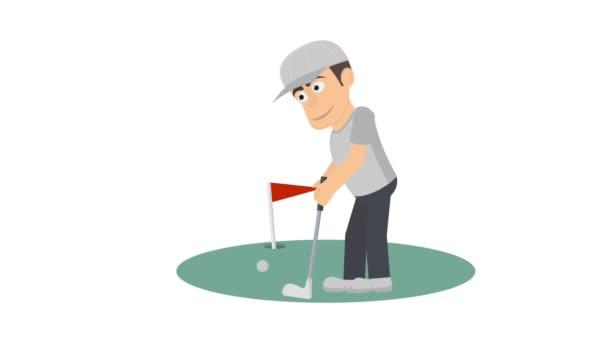 Golfer. Animace ze hry Golf. Karikatura