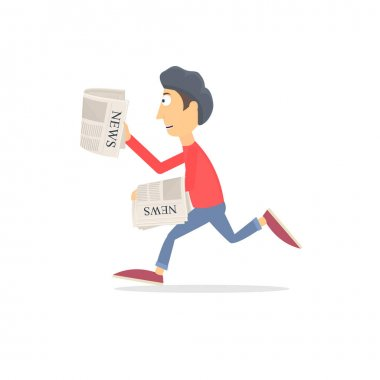 Paperboy. Newsboy, vector illustration. Promotion
