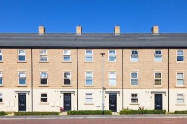 Row of new english terraced houses